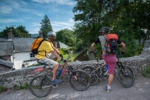 Cyclists on Talybont bridge