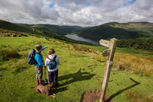 Pointing out Talybont reservoir