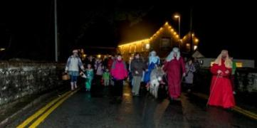 Live Nativity entering Talybont