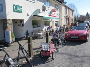 Cyclists outside Talybont cafe